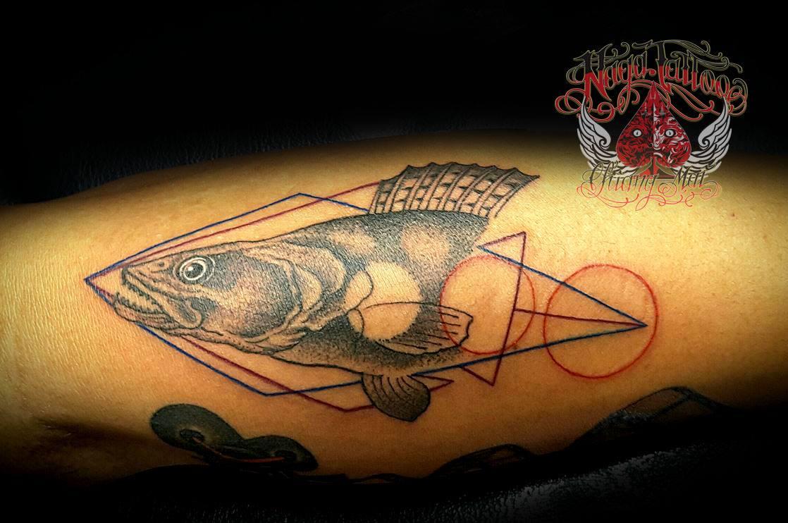A Fish Tattoo made at the Naga Crew Tattoo Studio, Chiang Mai