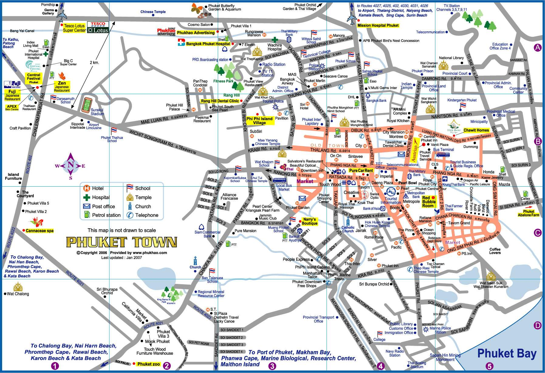 A road map of the Phuket Town