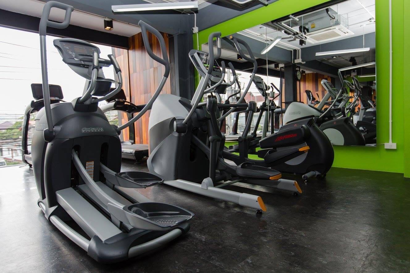 Fitness equipment inside the Just Fit Gym, Phuket