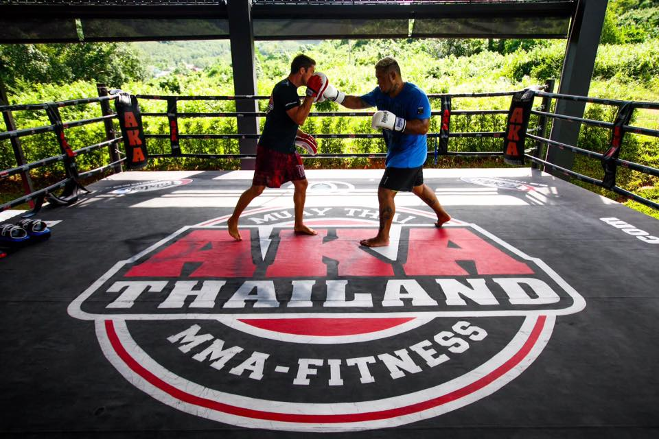 Professional Boxing Training going on in the open green space of the AKA Gym, Phuket