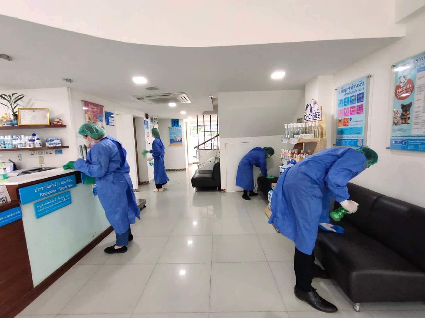 Sanitisation drive at the Thonglor Pet Hospital, Chiang Mai